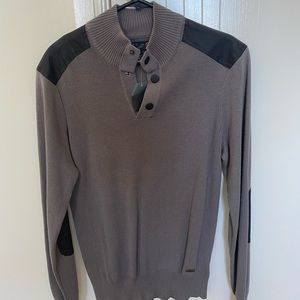 Brown mock T sweater from Guess.
